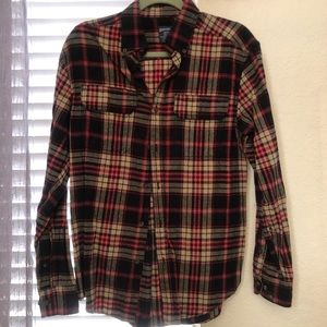 Black, Tan, and Red Plaid Long Sleeve Flannel